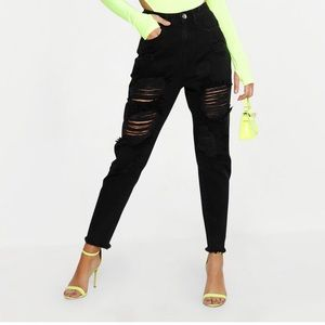 Boohoo Jeans - High waist ripped mom jeans